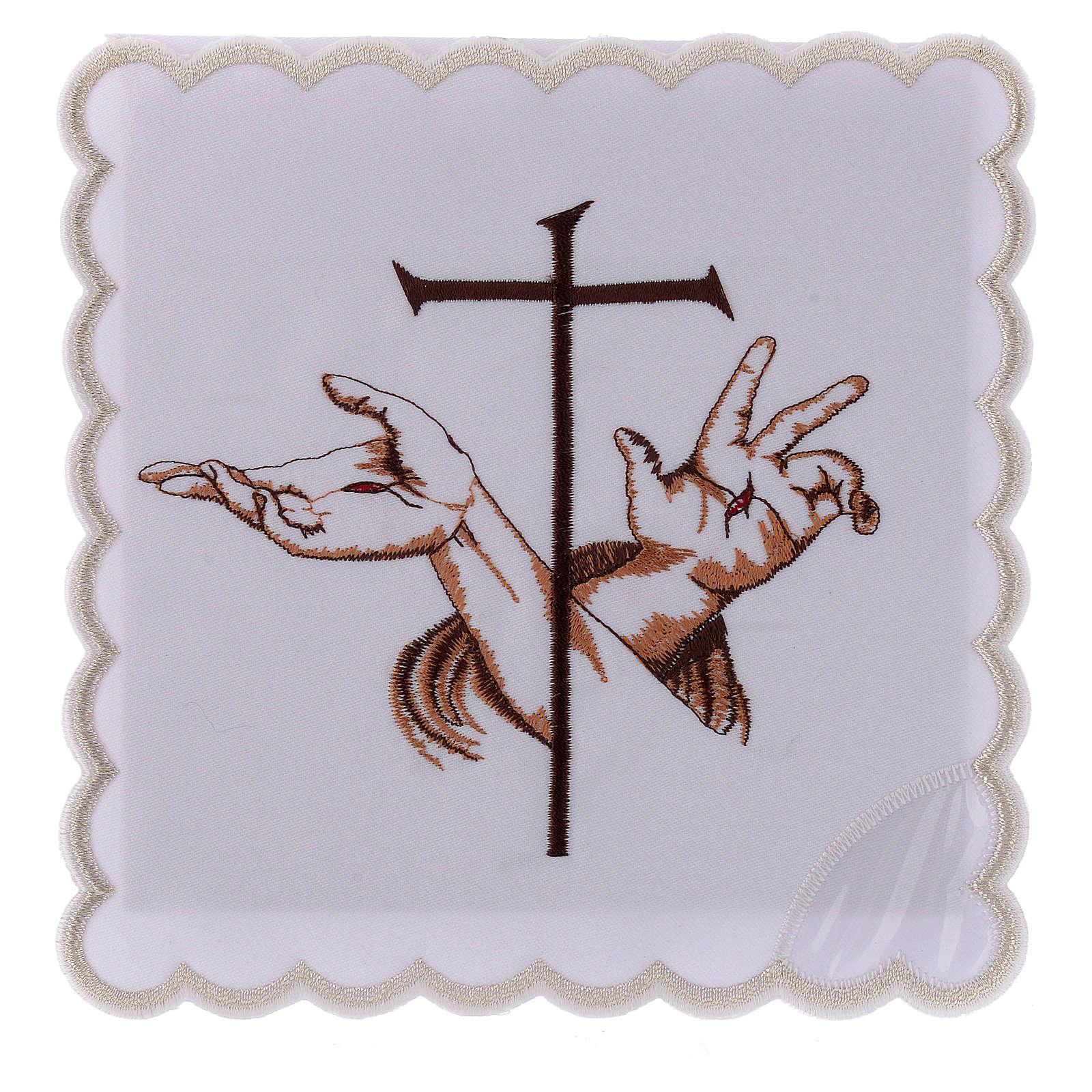 Altar linen Stigmata hands of Jesus & Cross, cotton 4