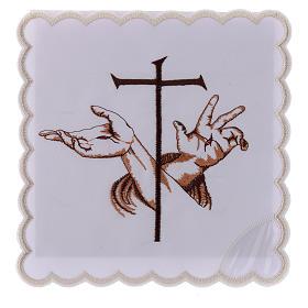 Service linge autel coton mains stigmates Jésus et croix s1