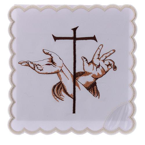 Service linge autel coton mains stigmates Jésus et croix 1