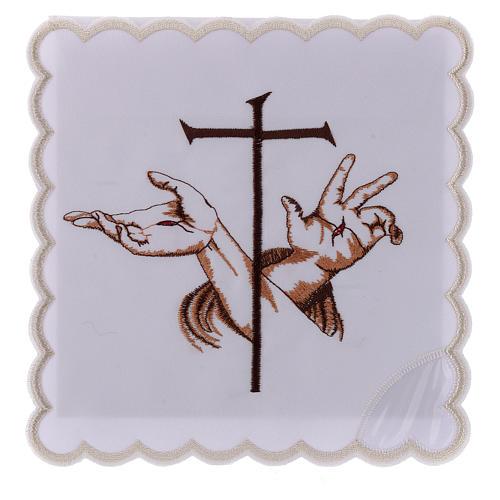 Bielizna kielichowa bawełna ręce ze stygmatami Jezusa i krzyż 1