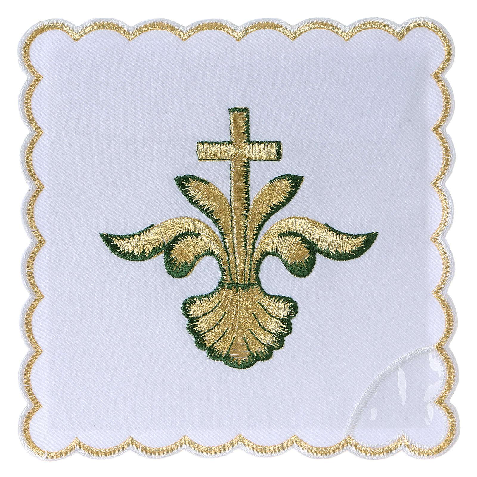 Altar linen baroque golden Cross green shades, cotton 4