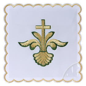 Altar linens: Altar linen baroque golden Cross green shades, cotton