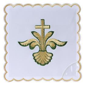 Altar linen baroque golden Cross green shades, cotton s1