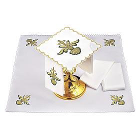 Altar linen baroque golden Cross green shades, cotton s2