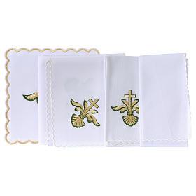 Altar linen baroque golden Cross green shades, cotton s3