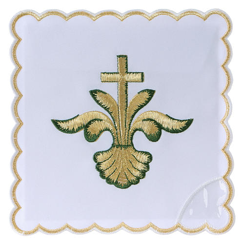 Altar linen baroque golden Cross green shades, cotton 1