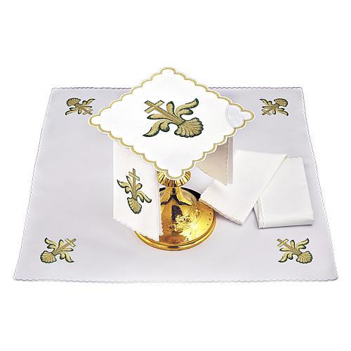 Altar linen baroque golden Cross green shades, cotton 2