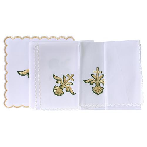 Altar linen baroque golden Cross green shades, cotton 3