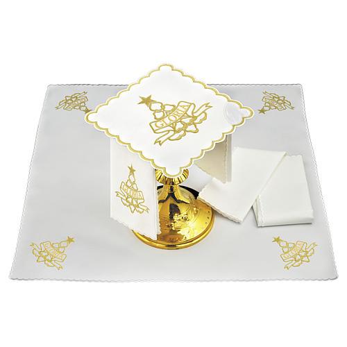 Servizio da altare cotone ricami dorati Gloria e stella 1