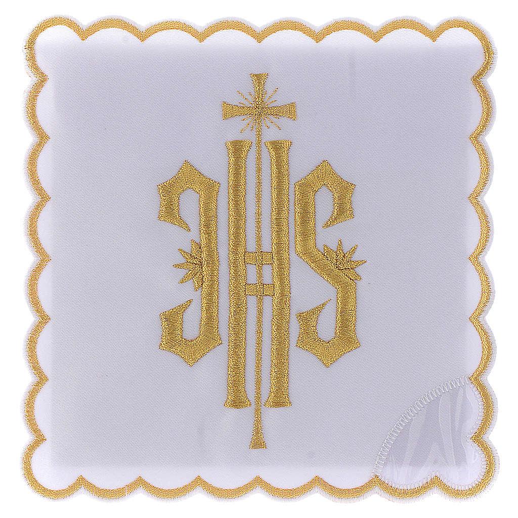 Service linge autel coton symbole IHS brodé or 4
