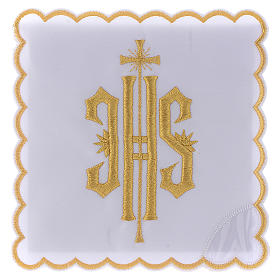Servizio da altare cotone simbolo JHS ricamato oro s1