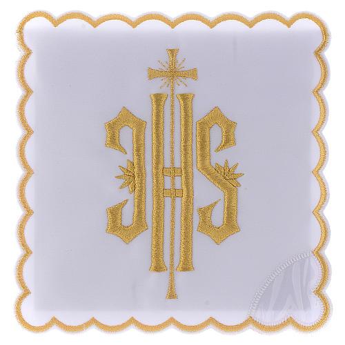 Servizio da altare cotone simbolo JHS ricamato oro 1