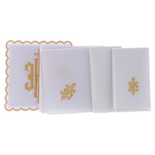 Servizio da altare cotone simbolo JHS ricamato oro 2
