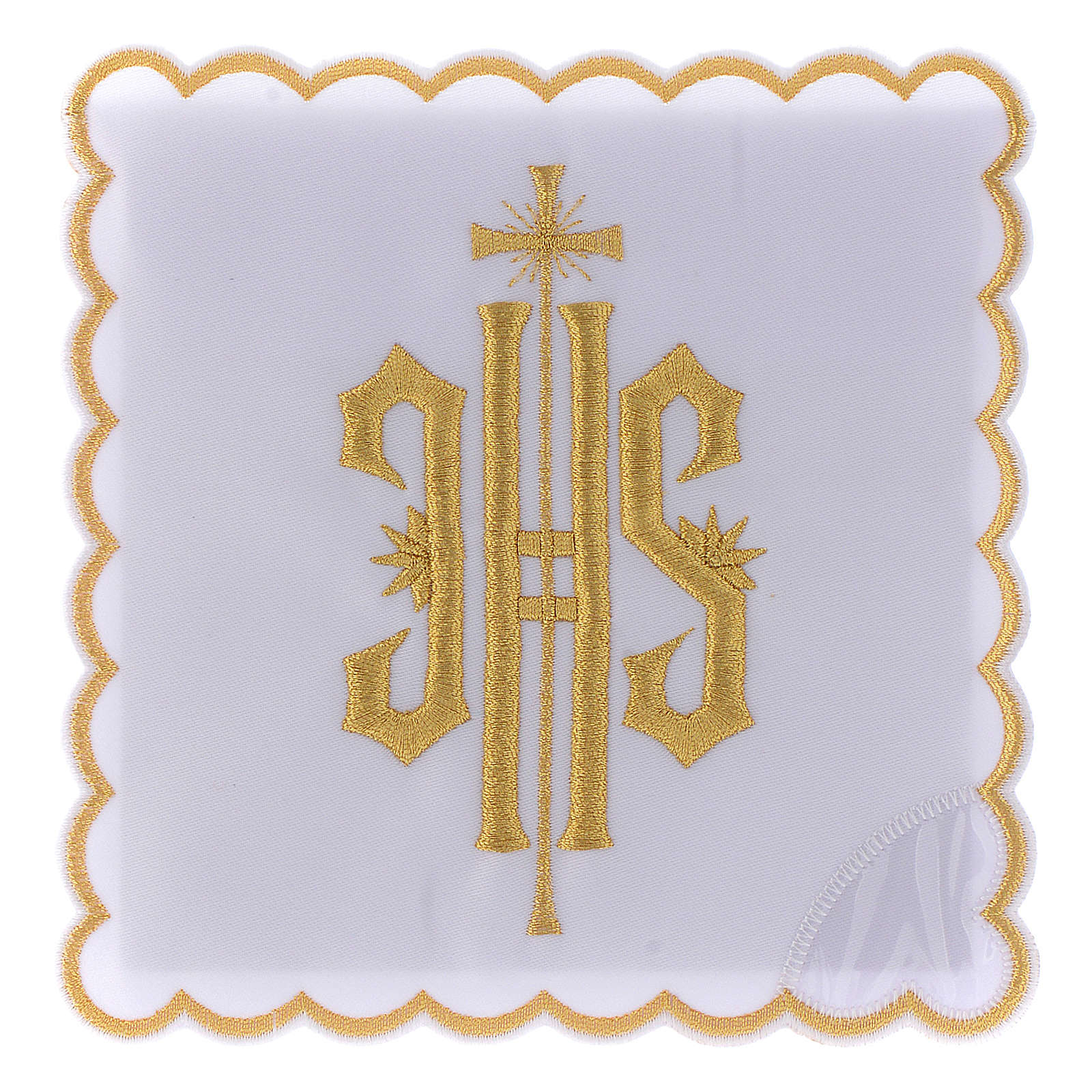 Altar linen JHS symbol golden embroided, cotton 4