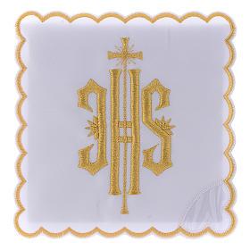 Altar linen JHS symbol golden embroided, cotton s1