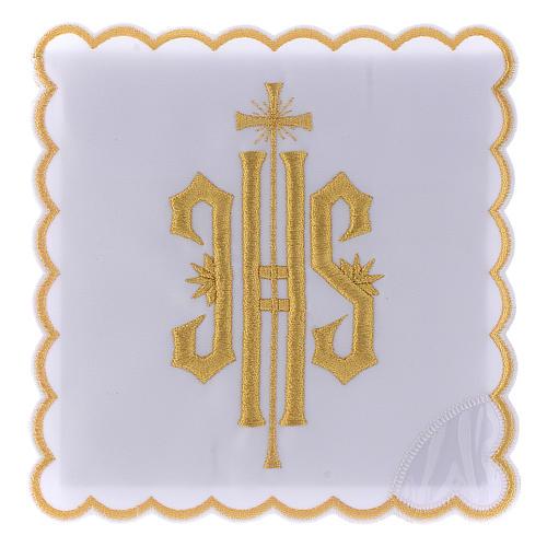 Altar linen JHS symbol golden embroided, cotton 1