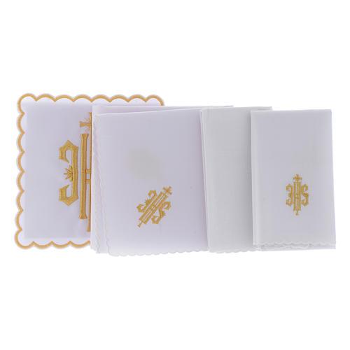 Altar linen JHS symbol golden embroided, cotton 2