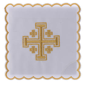 Servizio da altare cotone croce di Gerusalemme s1