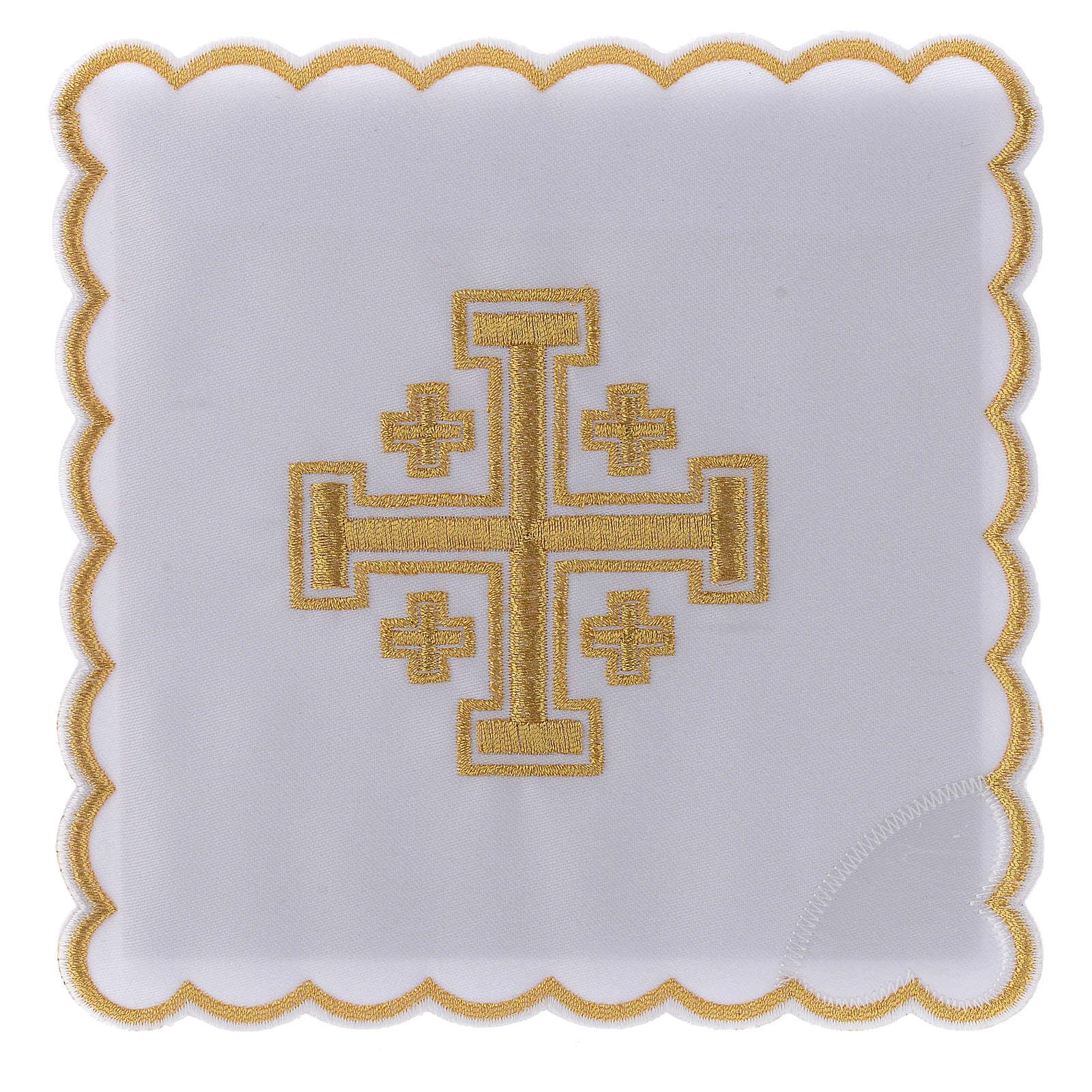 Conjunto alfaia litúrgica algodão cruz de Jerusalém 4