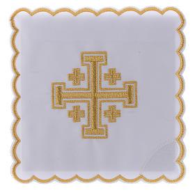 Conjunto alfaia litúrgica algodão cruz de Jerusalém s1