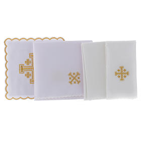 Conjunto alfaia litúrgica algodão cruz de Jerusalém s2