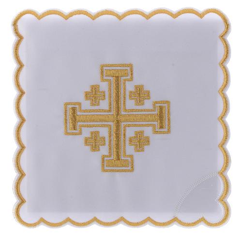 Conjunto alfaia litúrgica algodão cruz de Jerusalém 1