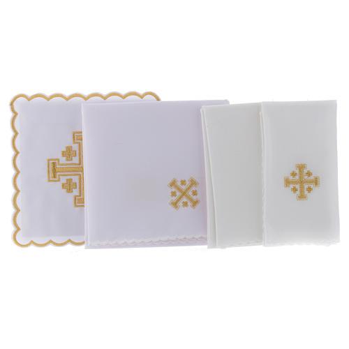 Conjunto alfaia litúrgica algodão cruz de Jerusalém 2