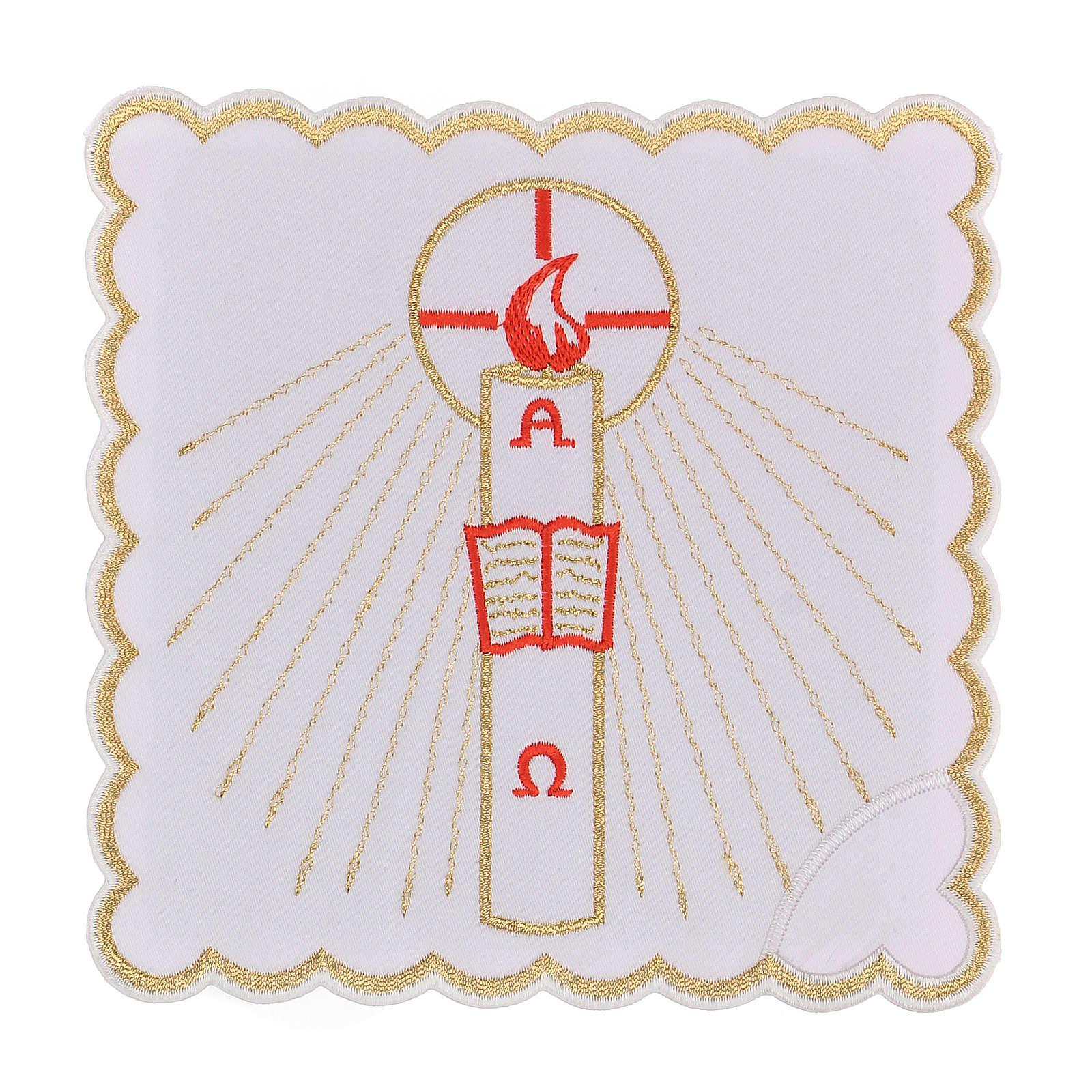 Linge autel coton bougie Alpha Oméga flamme rouge 4