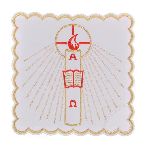 Linge autel coton bougie Alpha Oméga flamme rouge 1