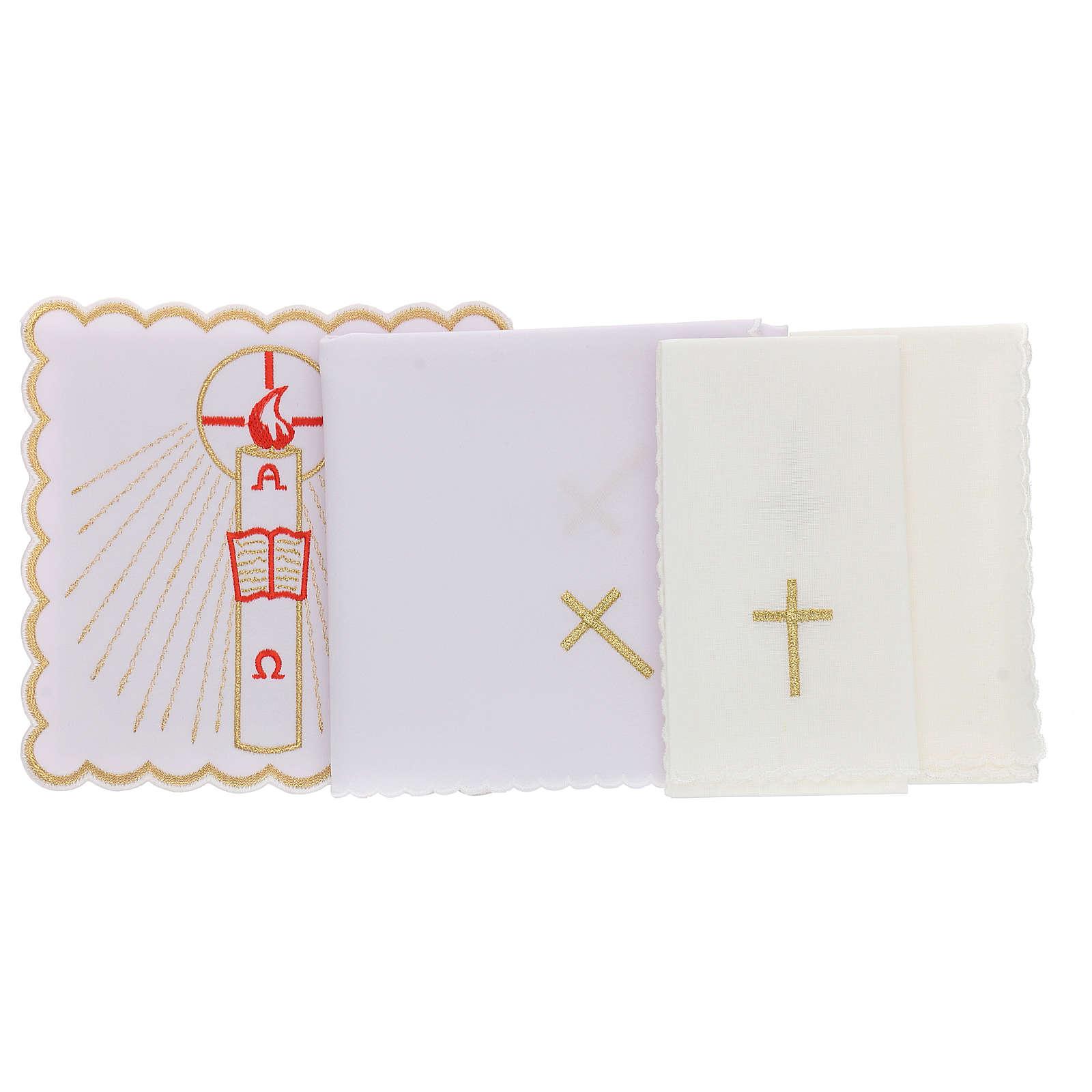 Servizio da altare cotone candela Alfa Omega fiamma rossa 4