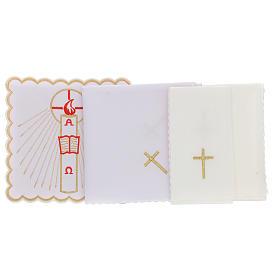 Servizio da altare cotone candela Alfa Omega fiamma rossa s3