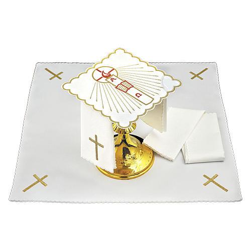 Servizio da altare cotone candela Alfa Omega fiamma rossa 2