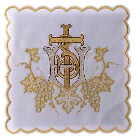 Servizio da altare cotone grappoli uva croce ricamo dorato s1