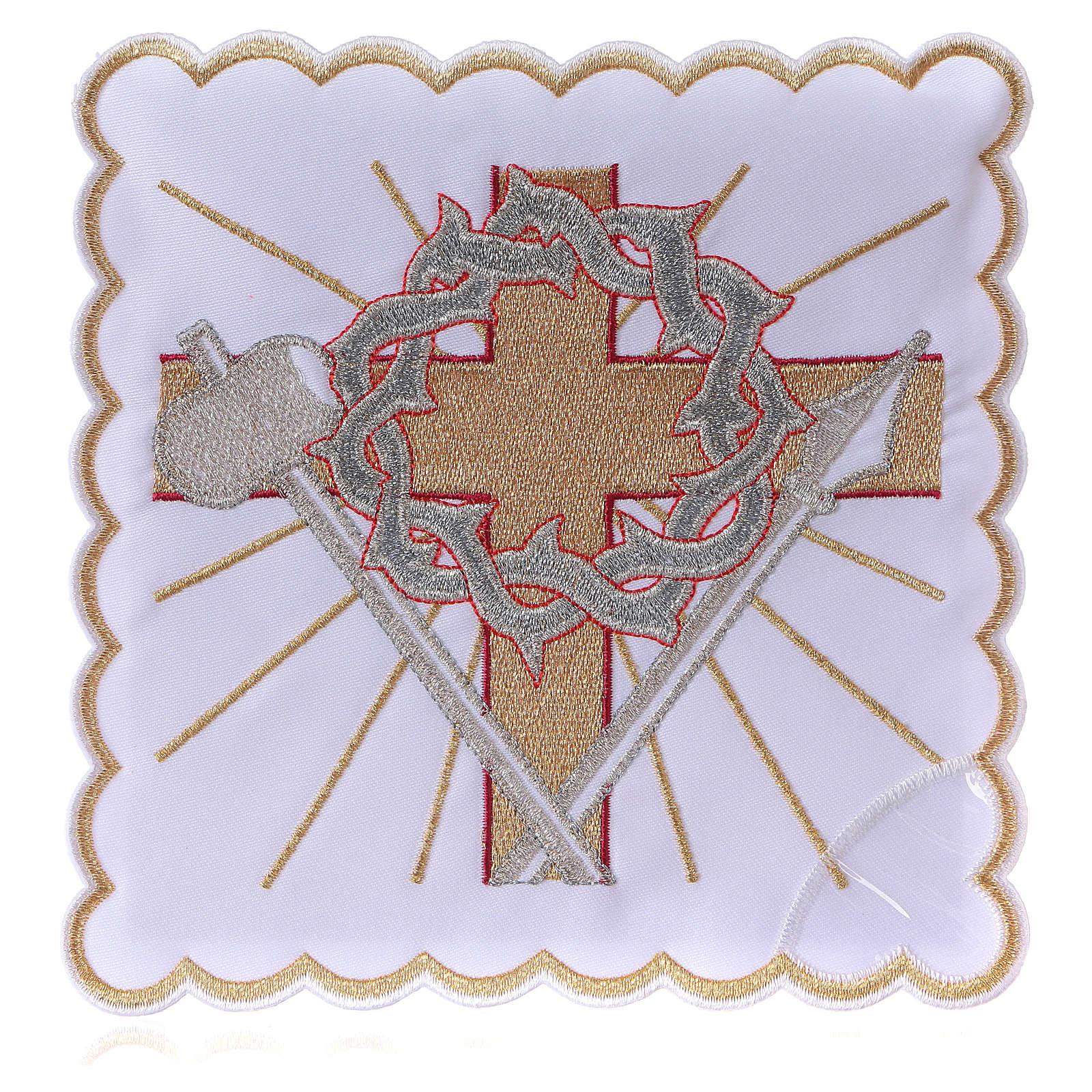 Altar linen cross spear & crown of thorns, cotton 4