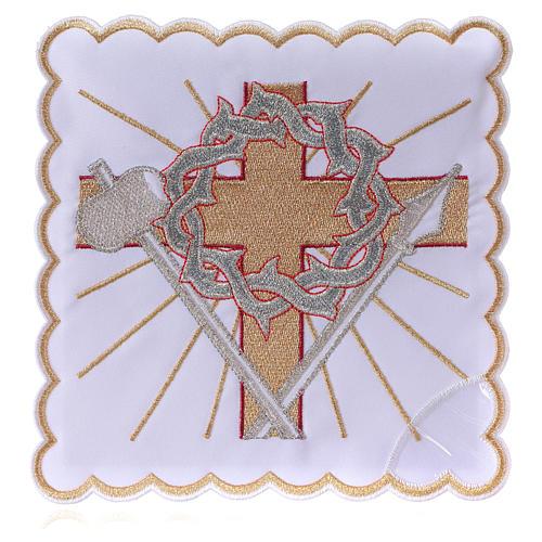 Altar linen cross spear & crown of thorns, cotton 1
