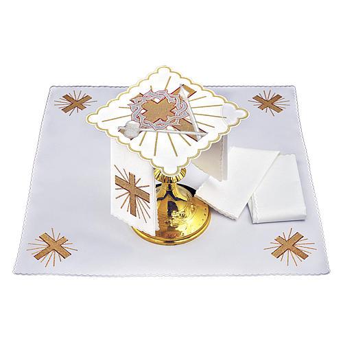 Altar linen cross spear & crown of thorns, cotton 2
