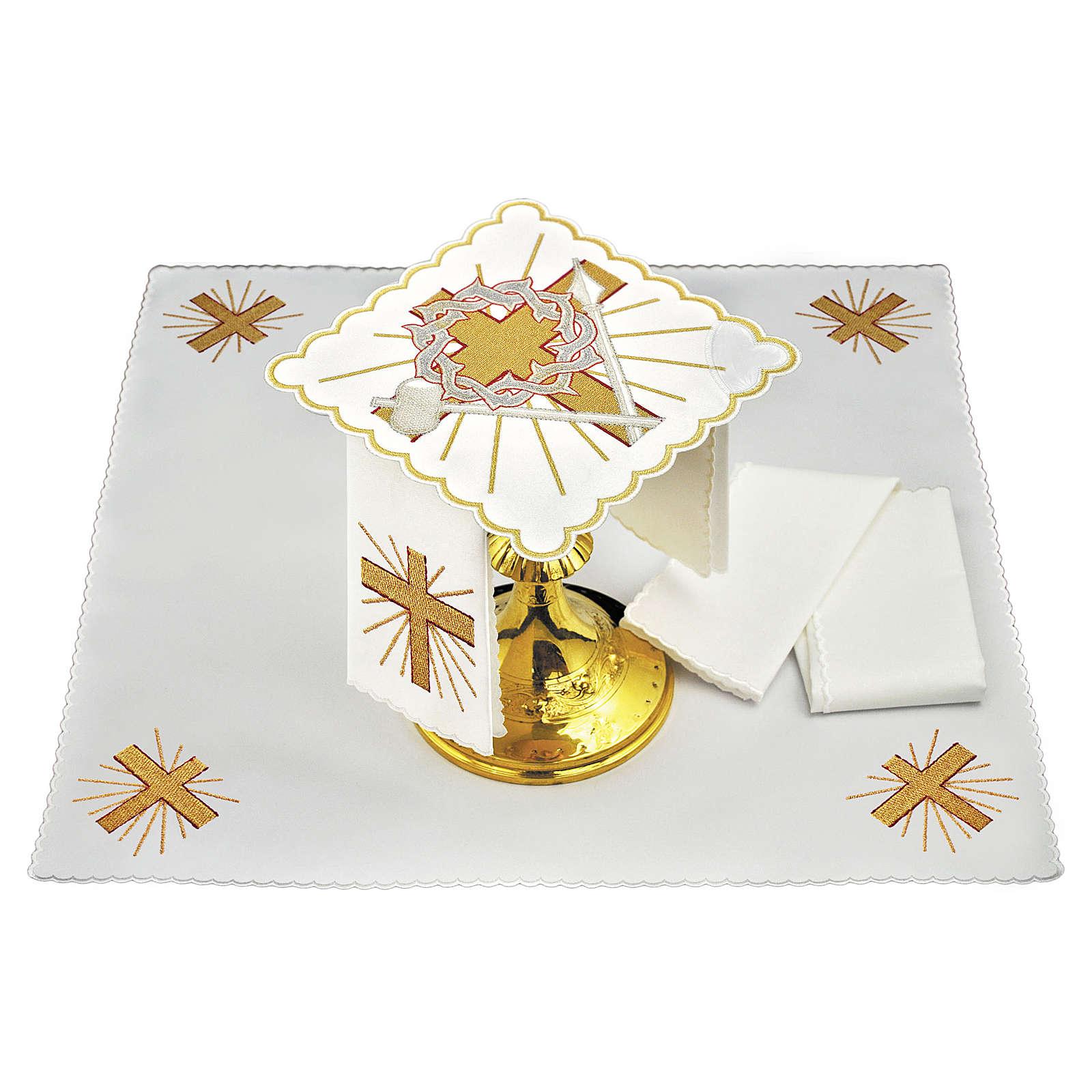 Servizio da altare cotone croce lancia corona di spine 4
