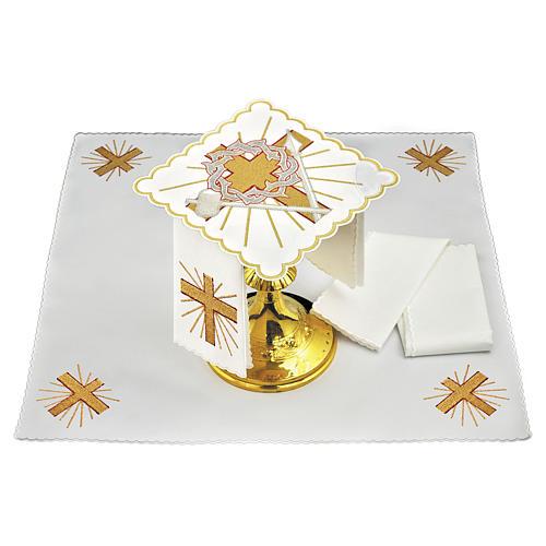 Servizio da altare cotone croce lancia corona di spine 1