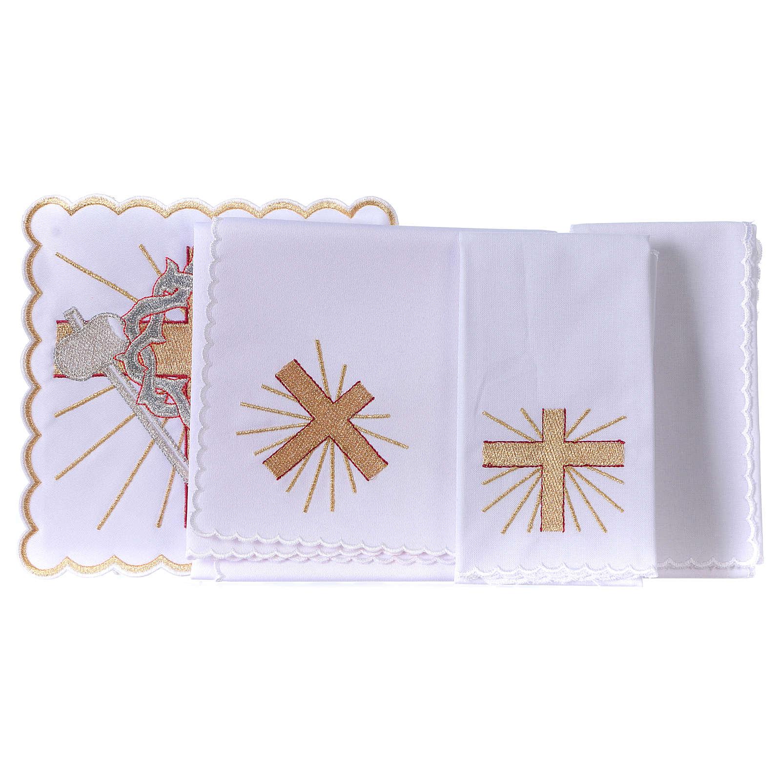 Conjunto alfaia litúrgica algodão cruz lança coroa de espinhas 4