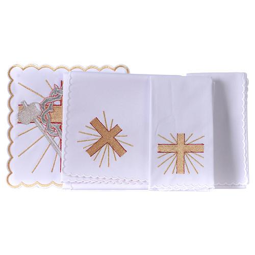 Conjunto alfaia litúrgica algodão cruz lança coroa de espinhas 3