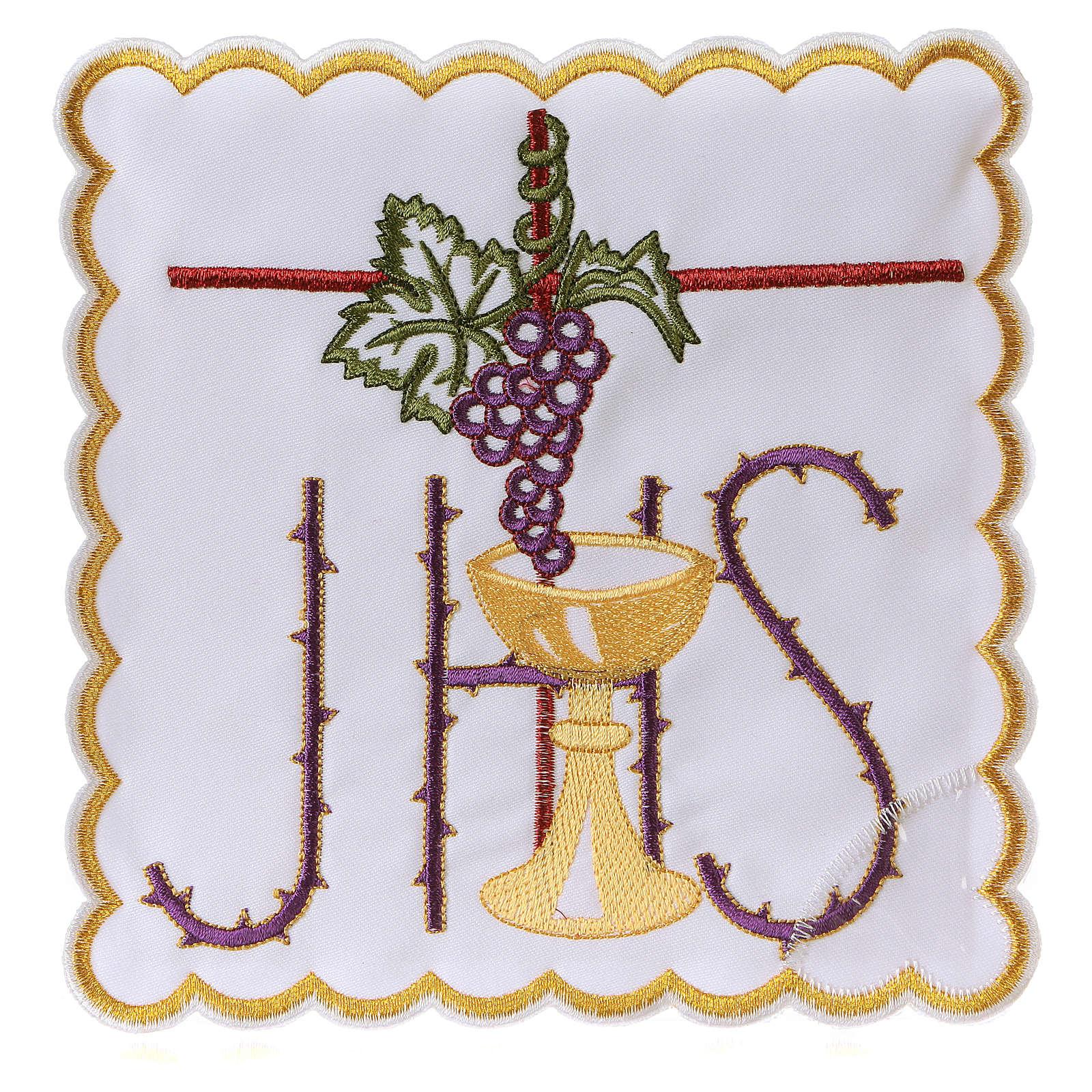 Altar linen chalice vine leaves spiked JHS symbol, cotton 4