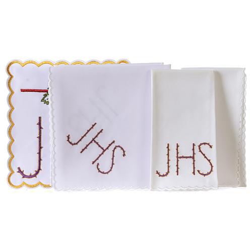 Servicio de altar algodón cáliz hoja uva símbolo JHS espinado 3