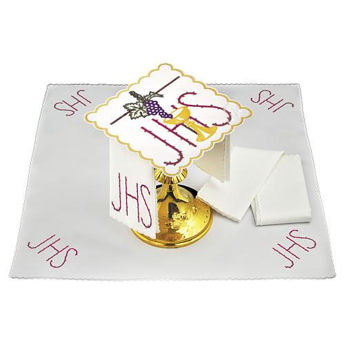 Linge autel coton calice feuille raisin symbole IHS épines 1
