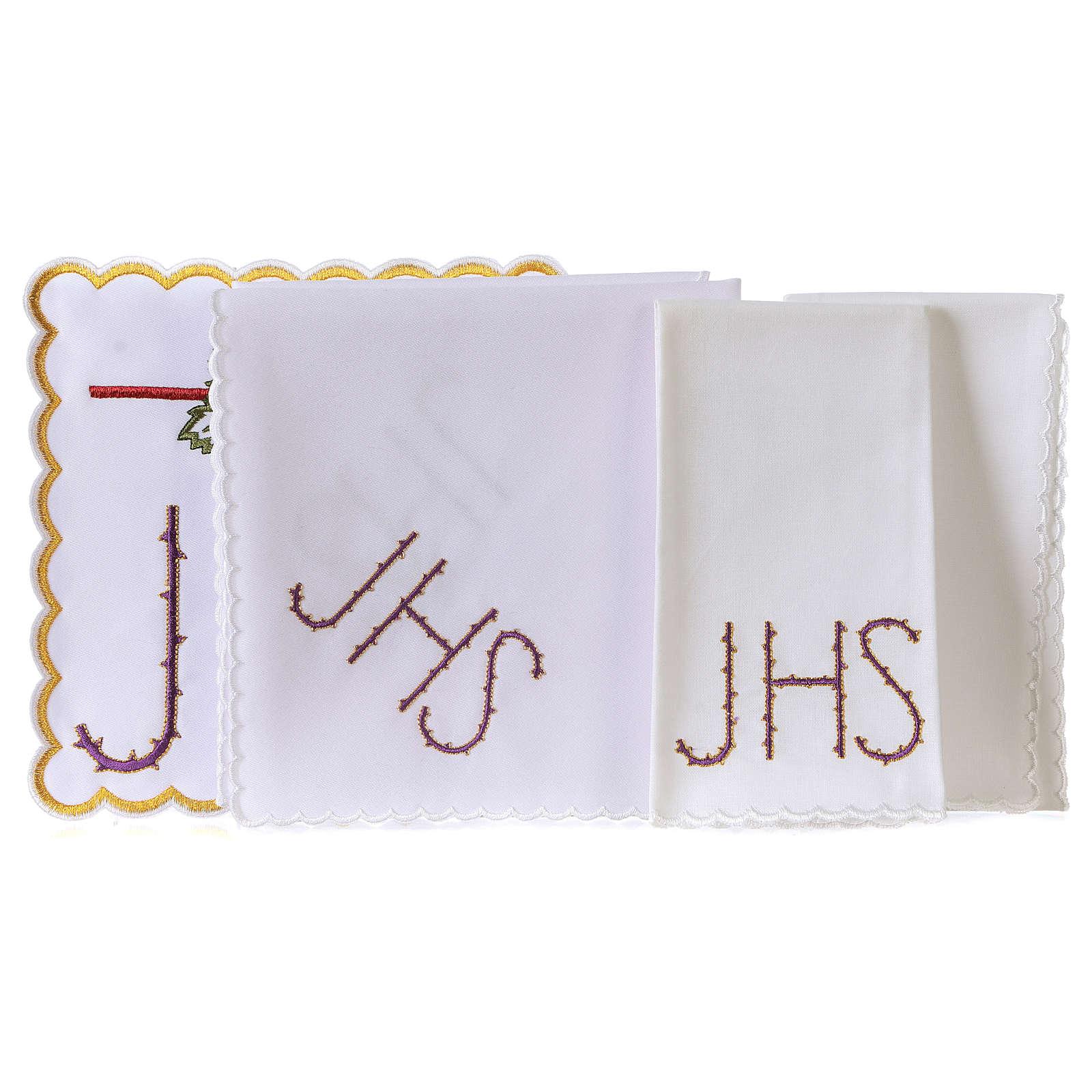 Servizio da altare cotone calice foglia uva simbolo JHS spinato 4