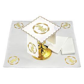Linge autel coton couronne de blé et symbole Chi-Rho s2