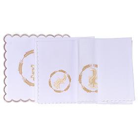 Linge autel coton couronne de blé et symbole Chi-Rho s3