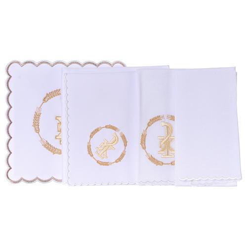 Linge autel coton couronne de blé et symbole Chi-Rho 3