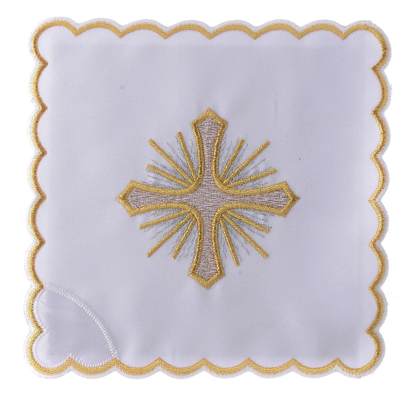 Servizio da altare cotone croce raggi ricamo dorato 4