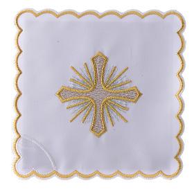 Servizio da altare cotone croce raggi ricamo dorato s1