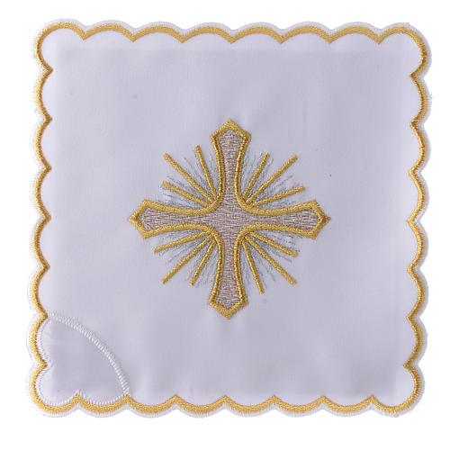 Servizio da altare cotone croce raggi ricamo dorato 1